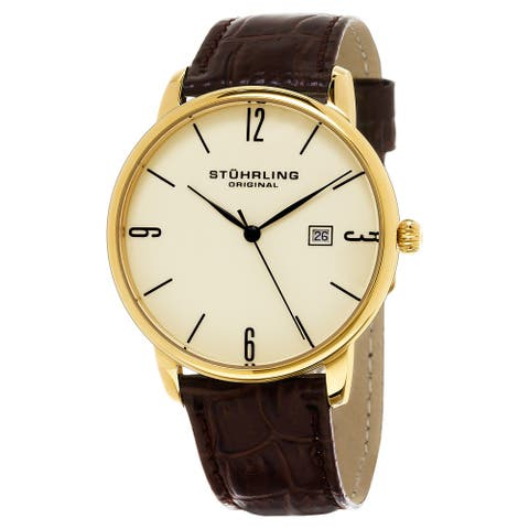 Stuhrling Original Men's Ascot Quartz Leather Strap Watch