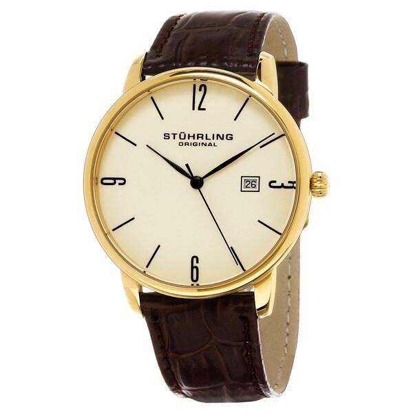Stuhrling Original Men's Ascot Quartz Leather Strap Watch. Opens flyout.