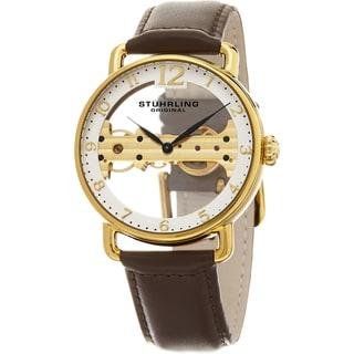 Stuhrling Original Men's Mechanical Skeleton Leather Strap Watch