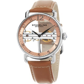 Stuhrling Original Men's Mechanical Skeleton Leather Strap Watch