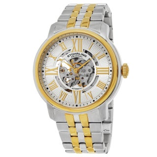 Stuhrling Original Men's Automatic Atrium Stainless Steel Bracelet Watch (Option: White Dial/ Gold Markers)
