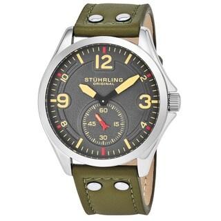 Stuhrling Original Men's Quartz Tuskegee Leather Strap Watch