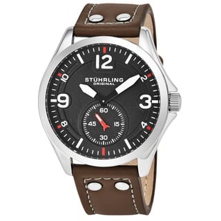 Stuhrling Original Men's Quartz Tuskegee Leather Strap Watch|https://ak1.ostkcdn.com/images/products/10756482/P17810013.jpg?impolicy=medium