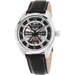 Stuhrling Original Men's Automatic Skeleton Turbine Leather Strap Watch