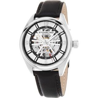 Stuhrling Original Men's Automatic Skeleton Turbine Leather Strap Watch