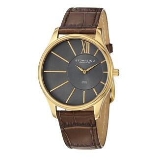 Stuhrling Original Men's Swiss Quartz Cuvette Leather Strap Watch