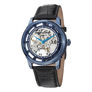 Stuhrling Original Men's Automatic Winchester Skeleton Leather Strap Watch