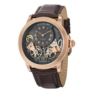 Stuhrling Original Men's Automatic Gemini Leather Strap Watch