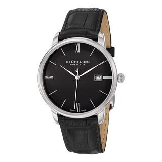 Stuhrling Original Men's Swiss Quartz Kingston Black Leather Strap Watch