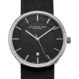 Stuhrling Original Men's Swiss Quartz Fairmont Leather Strap Watch