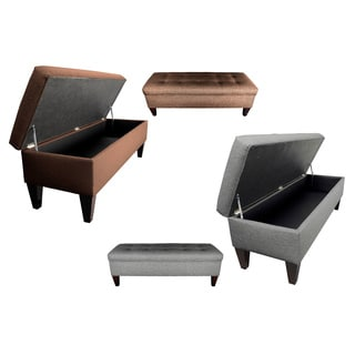 Brooke 10-button Tufted Upholstered Long Storage Bench Ottoman