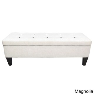 Brooke 10 Button Tufted Upholstered Long Storage Bench Ottoman