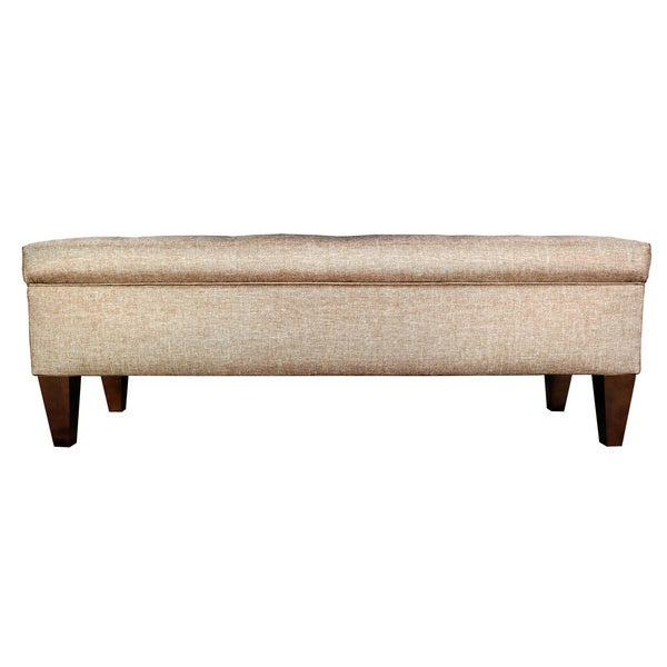 Brooke 10 button tufted upholstered long storage bench ottoman free shipping today overstock Long upholstered bench