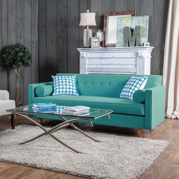 Furniture Of America Idalia Modern Mid Century Turquoise Blue Sofa