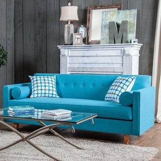 Furniture of America Idalia Modern Mid-Century Turquoise Blue Sofa