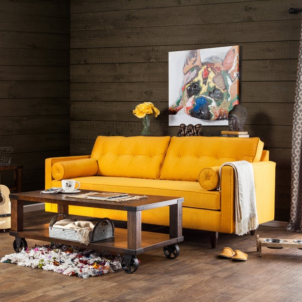 Furniture Of America Kalinda Modern Mid Century Sunshine Gold Sofa