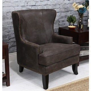 Somette Grant Palance Charcoal Wing Chair