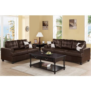 Gavin Brown Bonded Leather 3-piece Living Room Set - Free Shipping ...