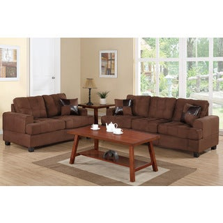 Sniatyn 2-piece Living Room Set Upholstered in Plush Microfiber