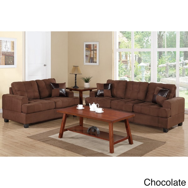 Sniatyn 2 Piece Living Room Set Upholstered In Plush Microfiber