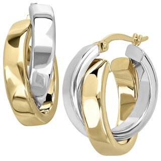 14k Two-tone Gold Crossover Hoop Earrings