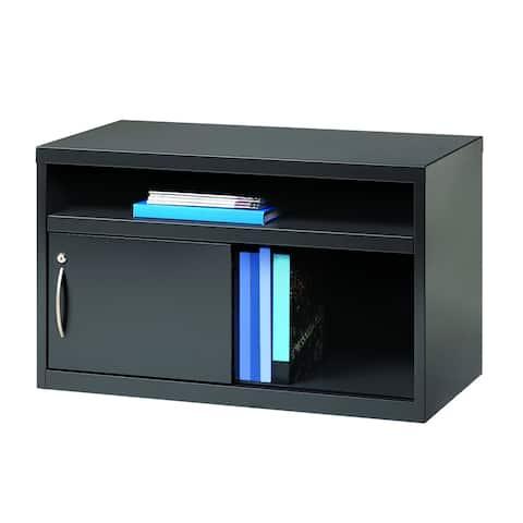"""Hirsh 36"""" Wide Office Credenza, Open Shelf with Sliding Door, Charcoal"""