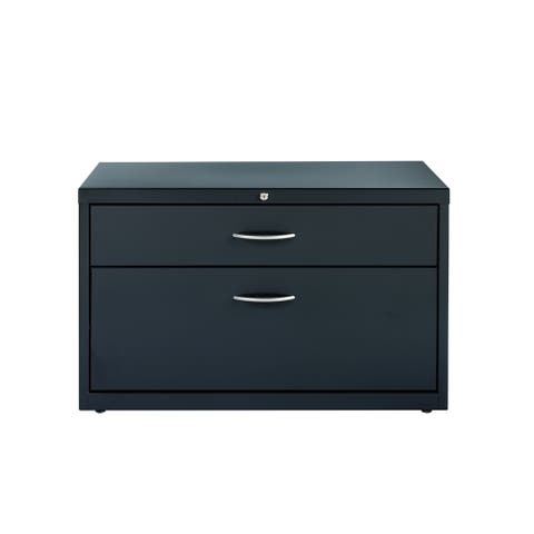"Hirsh 36"" Wide Office Credenza Lateral 2-Drawer File Cabinet, Charcoal"