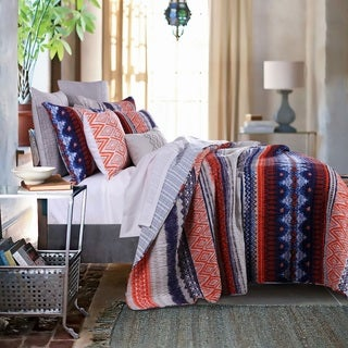 Greenland Home Fashions Urban Boho Oversized Cotton 3-piece Quilt Set