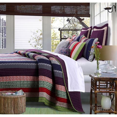 Greenland Home Fashions Marley Oversized Cotton 3-piece Quilt Set