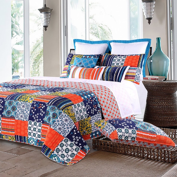 Greenland Home Fashions Arianna Teal Oversized Cotton 3-piece Quilt Set
