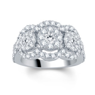 Divina 10k White Gold 1 1/2ct TDW Diamond Engagement Ring (I-J, I2-I3)