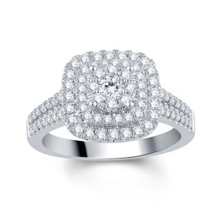Divina 10k White Gold 1ct TDW Diamond Halo Engagement Ring (I-J, I2-I3)