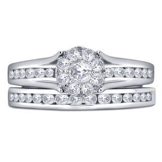 Divina 10k White Gold 1ct TDW Diamond Bridal Set Ring (I-J, I2-I3)