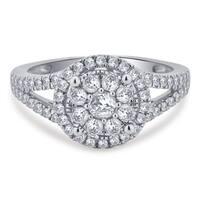 Divina 10k White Gold 7/8ct TDW Diamond Halo Engagement Ring (I-J, I2-I3)