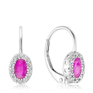 10k White Gold Oval Synthetic Pink Quartz Diamond Accent Earrings
