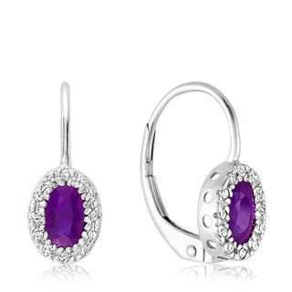 10k White Gold Oval Amethyst Diamond Accent Earrings