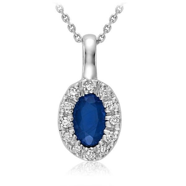 10k White Gold Oval Blue Saphire Diamond Accent Pendant