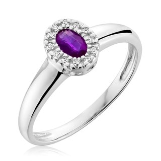 10k White Gold Oval Amethyst Diamond Accent Ring Size 6.5