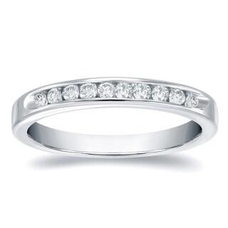 Auriya 14k Gold 1/10ct TDW Round-Cut Diamond Channel Band (H-I, SI1-SI2)