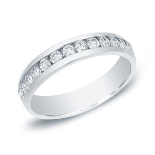 Auriya 14k Gold 1ct TDW Round-Cut Diamond Channel Band (More options available)
