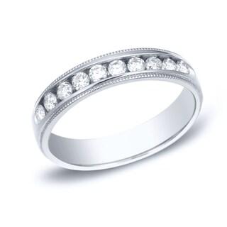 Auriya 14k Gold 1ct TDW Milgrain Round-Cut Diamond Channel Set Wedding Band