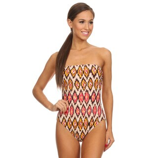Dippin' Daisy's Brown Multi Tribal Strapless One Piece Missy Bathing Suit