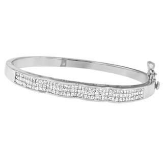 14k White Gold 3 1/3ct TDW Princess Cut Diamond Wave-Form Bangle (H-I,SI1-SI2)