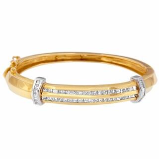 Vintage Inspired 14k Yellow Gold 2 7/8ct TDW Princess Cut Diamond Bangle (H-I,SI1-SI2)