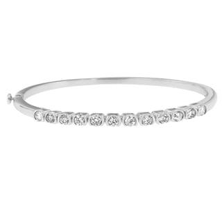 14k White Gold 1 7/8ct TDW Round-cut Diamond Semi-eternity Bangle (H-I, Si1-Si2)