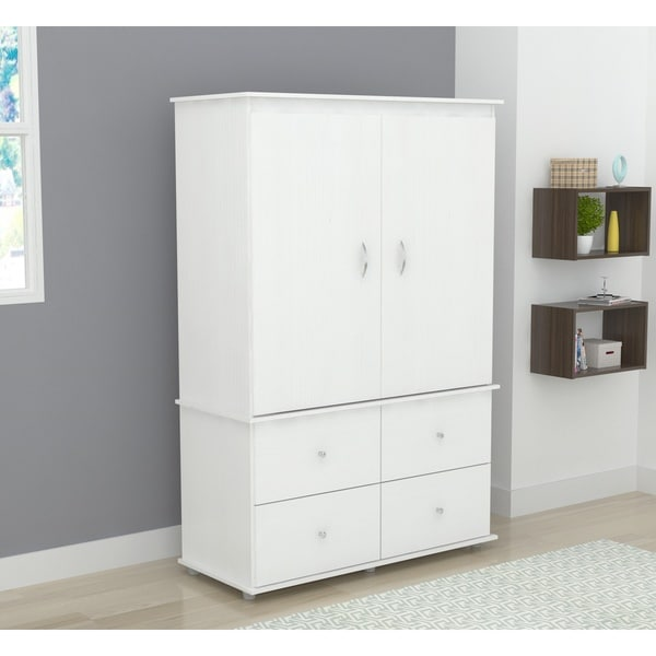 inval larcinia white audio video armoire cabinet free. Black Bedroom Furniture Sets. Home Design Ideas
