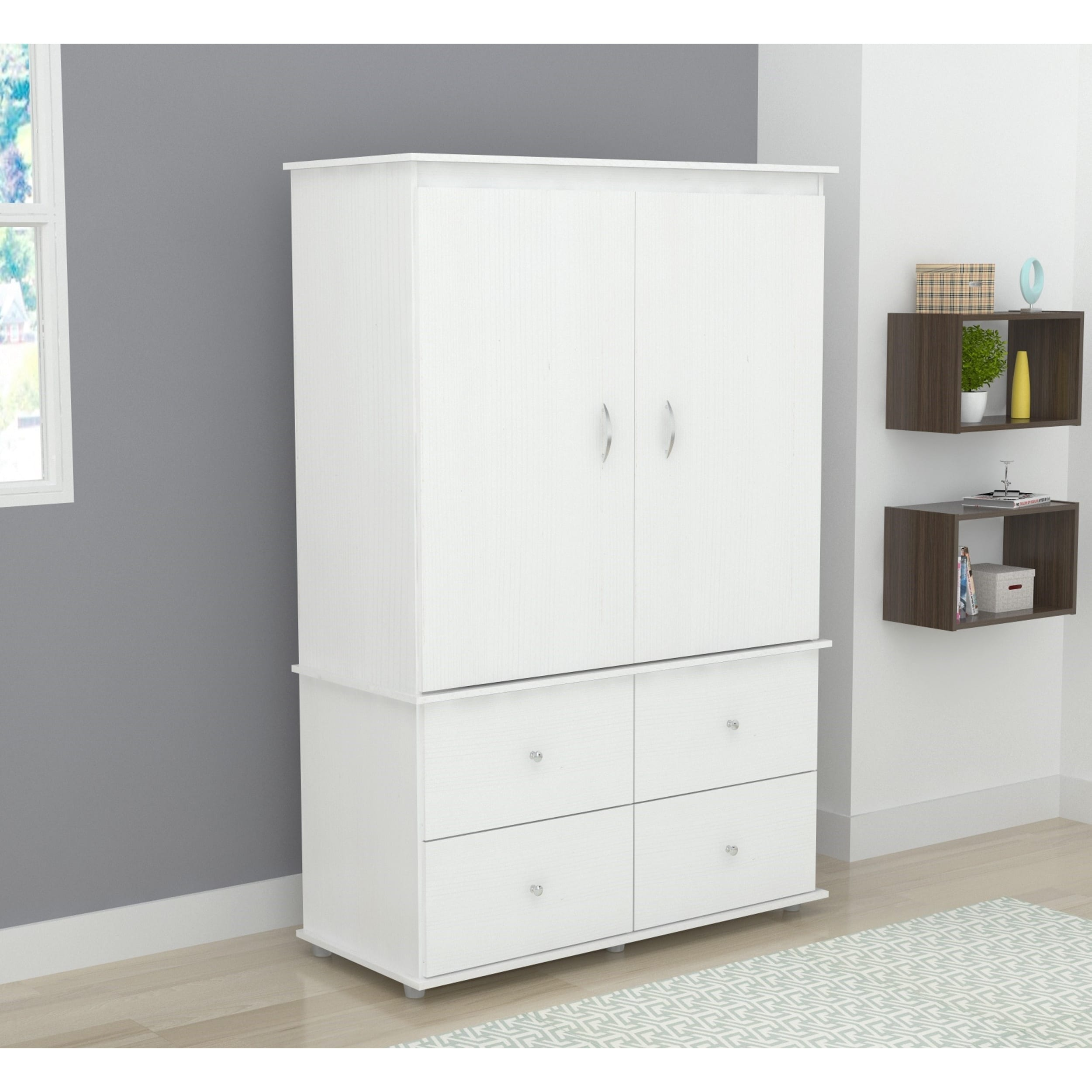 Clay Alder Home Aurora White Audio Video Armoire Cabinet