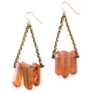Tea Rose Quartz Earrings with Copper Chain (China)