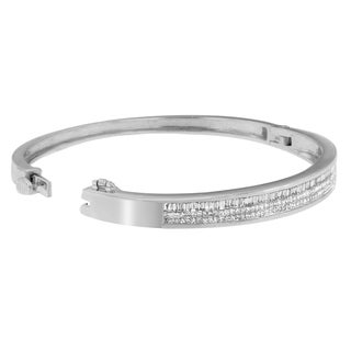 14k White Gold 2 1/10ct TDW Princess and Baguette Cut Diamond Classically Crafted Bangle (H-I,SI1-SI2)