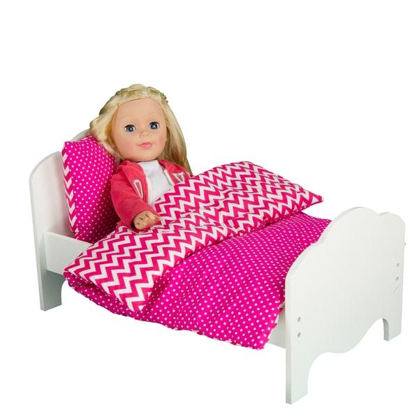 Olivia's Little World Little Princess 18-inch Doll Modern Chevron Single Bed and Bedding Set